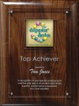 Digi-Color Emblem on Lucite/Genuine Walnut Riser Plaque Achievement Awards