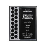 Acrylic Plaque with Mirror Cutout Hex Pattern Achievement Awards