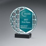 Reflective Excellence Circle with Silver Mirror Colored Acrylic Awards