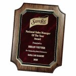 Genuine Walnut Notched Corner Plaque with Marble Mist Employee Awards