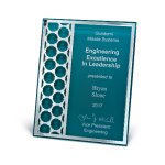 Acrylic Plaque with Mirror Cutout Hex Pattern Employee Awards