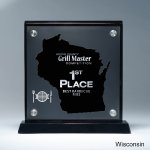 Frosted Lucite Cutout on Risers Award  with Choice of State Employee Awards