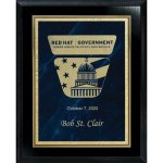 Blue Marble Florentine Plate on Ebony Board Employee Awards