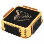Leatherette Square Coaster Set with Gold Edge -Black  Kitchen Gifts