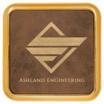 Leatherette Square Coaster with Gold Edge -Rustic Gold  Kitchen Gifts