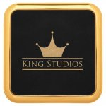 Leatherette Square Coaster with Gold Edge -Black Kitchen Gifts