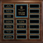 Genuine Walnut 18-Plate Pearl or Blue Border Plaque Medium Perpetual Plaques