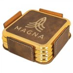Leatherette Square Coaster Set with Gold Edge -Rustic/Gold Misc. Gift Awards