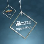Clear Glass Beveled Square Ornament Ornaments