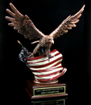 Bronze Eagle W/ American Flag Patriotic Awards
