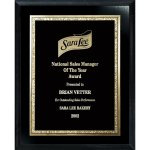 Florentine Gold Edge Plate on Ebony Board Recognition Plaques
