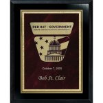 Red Marble Florentine Plate on Ebony Finish Board Recognition Plaques