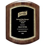 Genuine Walnut Barrel Plaque With Black And Gold Florentine Sales Awards