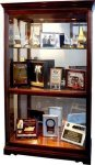 R3102 - Glass & Windsor Cherry Finish Lighted Display Cabinet Showcases
