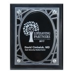 Frosted Acrylic Decorative Edge Cutout on Black Plaque Traditional Acrylic Awards