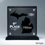 Frosted Lucite Cutout on Risers Award  with Choice of State Traditional Acrylic Awards
